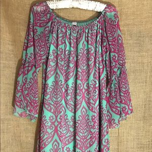 Pink & Green Summer Dress - Medium M